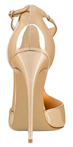 Scarpe Stiletto Solidi Caviglia Centimetri Sandali T Brevetto Oro 12 Aguzza Fibbia Donne Pompe Tallone Ybeauty cinghia Punta RqH7XUpwn