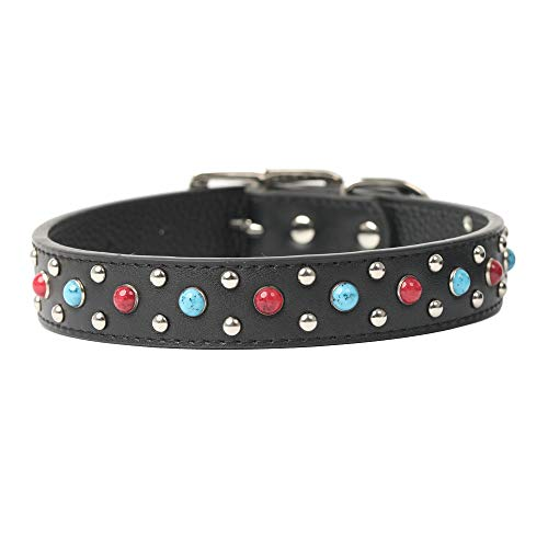 Rust Gemstone (Duoying Leather Dog Collar red and Blue Gemstones are Set in Two Sizes for Small and Medium Dogs (L 1
