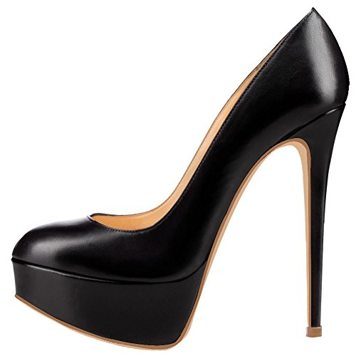 Two Spike Solid Black AOOAR Womens Pu Stiletto Pumps Toned High Platform fwaUpA