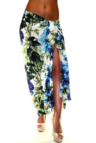 Dolce & Gabbana Beach Wrap Pareo Blue/Green Flowers Style QP0001 Size OS