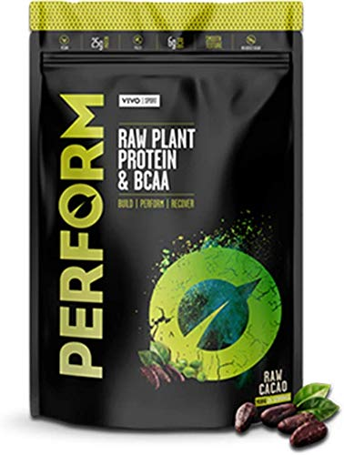Vivo Life Perform - Raw Vegan Protein Powder | Pea & Hemp Protein Blend with BCAA | Gluten & Soy Free Protein Shak (Raw Cacao, Large)
