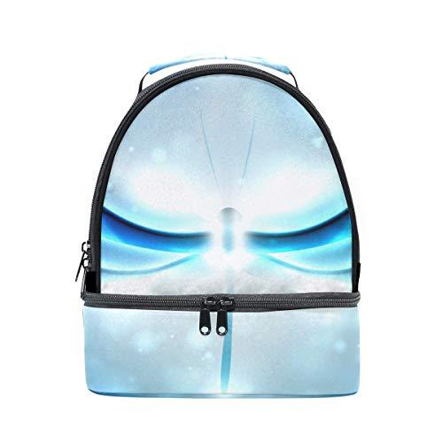 diseño ajustable de y correa almuerzo abstracto brillante con libélula picnic para de doble Bolso p1PTI