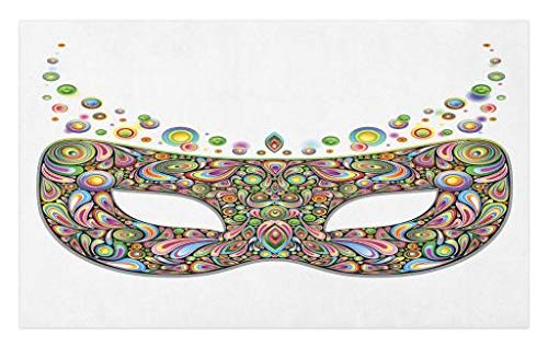 Lunarable Masquerade Doormat, Mask in Psychedelic Art Design Pop Makeup in Vibrant Rainbow Colors Pattern, Decorative Polyester Floor Mat with Non-Skid Backing, 30 W X 18 L Inches, Multicolor ()