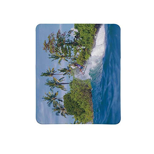 Ride The Wave Non Slip Mouse Pad,Surfer in Ocean by Bali Island Palm Trees Dreamy Nature Scenery for Home & Office,11