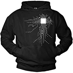 Cool Hoodies for Men GEEK CPU Pullover black XXL