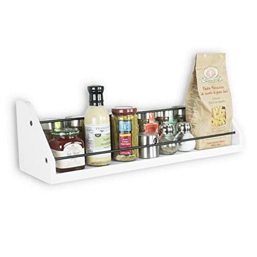Kitchen White Wall Shelf with Black Metal Section Railing Great For Spice Dressing Jar Display Organizer Storage Rack Each Shelf is 24 inch