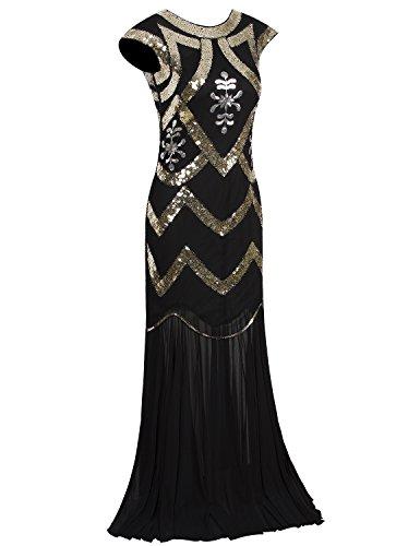 Vijiv 1920s Long Prom Dresses V Neck Beaded Sequin Gatsby Maxi Evening Dress
