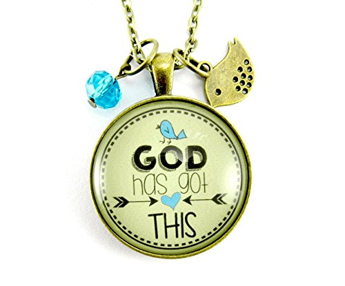 24 God Has Got This Necklace Christian Faith Bohemian Style 1.20 Glass Circle Bronze Pendant Jewelry Bird Blue Charm