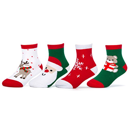 CAMIRUS 4-Pack Kids Christmas Cotton Socks, Unisex Boys Girls Holiday Sock for Gift