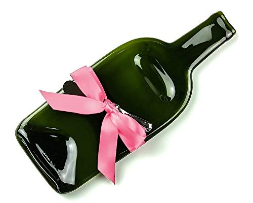(Melted Wine Bottle Cheese Tray with Cheese Spreader and Pink Ribbon, Preppy Fun Housewarming Gift)