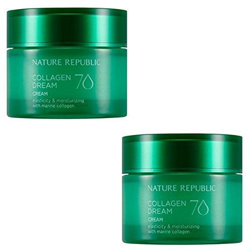 Nature Republic Collagen Dream 70 Cream 50 Ml 1+1 Moisturizing Improve Wrinkle Skin Care Elasticity Marine Collagen Acai Berry Hawaii Cona Deep Sea Water