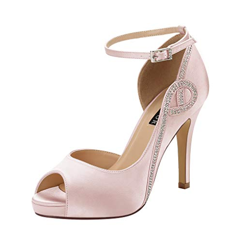 ERIJUNOR E8816 Women Peep Toe Side Open Rhinestones Comfortable Platform Satin Bridal Wedding Party Shoes Blush Size 6