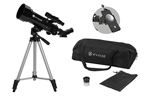 Zhumell Z70 Portable Refractor w Tripod, Phone Adapter & Carry Bag, Black