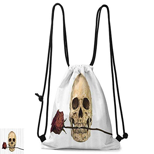 (Swimming backpack Gothic Decor Collection Skull with Dry Red Rose in Teeth Anatomy Death Eye Socket Jawbone Halloween Art W14