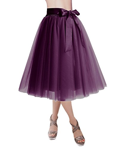 th Tulle Skirt Tutu Skirt Evening Party Gown Prom Formal Skirts Grape M-L (Medium Womens Skirt Dress)