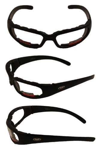 Chicago Foam Padded Sunglasses Black Frame Motorcycle Goggles Various Lens Options Chicago Lens Color: Clear - Sunglasses Chicago