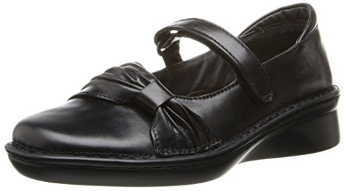 Naot Womens Tone Mary Jane Flat Black Madras