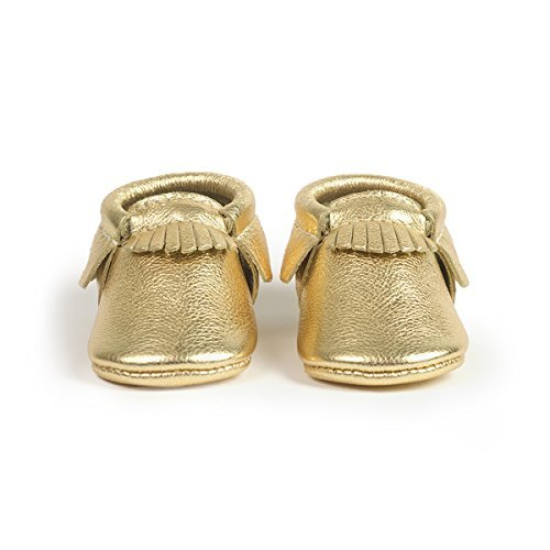 Freshly Picked Soft Sole Leather Baby Moccasins - Gold - Size 5 by Freshly Picked