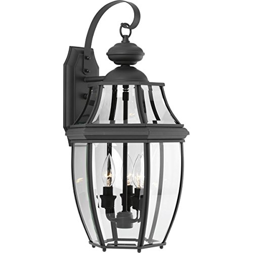 - Progress Lighting New Haven Collection 3-Light Outdoor Black Wall Lantern
