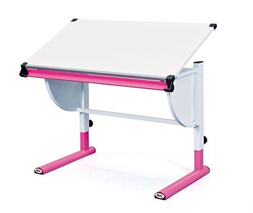 Links 51067450 Schreibtisch Kinderschreibtisch für Kinder, Holz mit Stiftablage, höhenverstellbar und neigungsverstellbar, pink