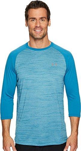 Under Armour Men's Tech 3/4 Sleeve T-Shirt, Bayou Blue/Graphite, Large (Sleeve Sport Sleeve Long 3/4 Shirt)