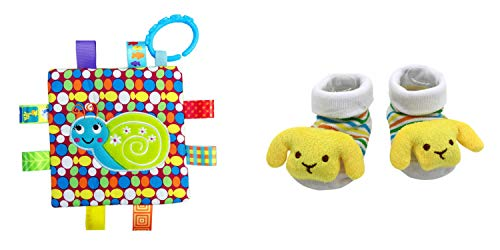 New Cute Baby Puppy Dog Socks & Little Taggie Snail Blanket Theme 2-Pack 3-12 Months w/Gift -