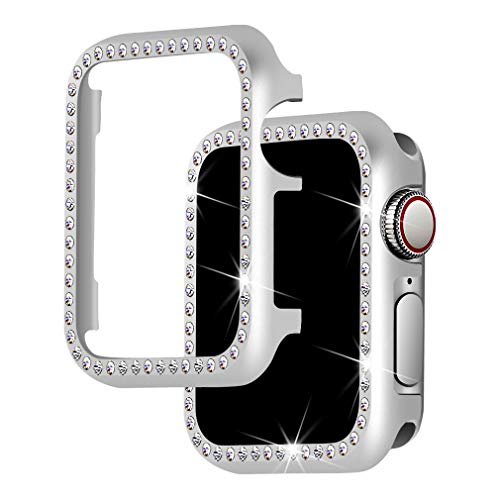 Falandi for Apple Watch Case 40mm, Series 4 Apple Watch Face Case with Bling Crystal Diamonds Plate iWatch Case Cover Protective Frame for Apple Watch 38mm Series 3/2/1 (Silver-Diamond, 40mm) (Best Iphone 4 Metal Case)