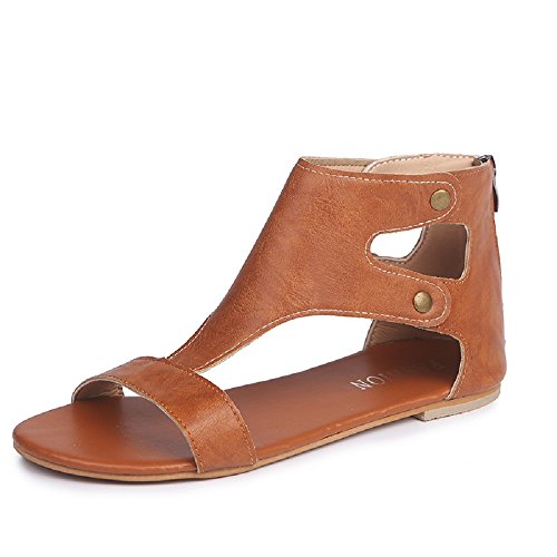 Ladies Flat Sandals for Womens Faux Leather Roman Zipper Shoes Summer Open Toe Casual Shoes for Walking Vacation Size 3-8 Brown+yellow