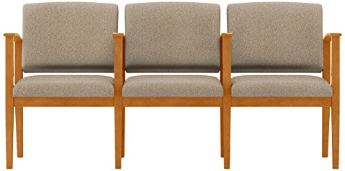 Lesro Amherst Wood 3 Seats with Center Arms in Medium Finish, Tendril River Rock