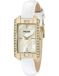 Pulsar Womens PRW010 Gold-Tone Swarovski Crystal Watch With Leather Band