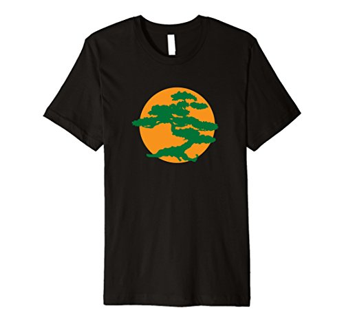 Karate Bonsai Tree (Bonsai Tree t shirt with Orange Sun Japanese Zen Premium)