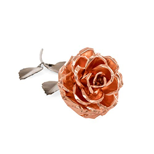 Personalized Gift Hand-Forged Copper and Wrought Iron Metal Rose - Valentine's Day Gift ()