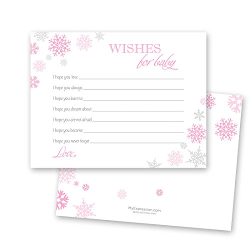 MyExpression.com 48 Cnt Pink Snowflakes Baby Wish Cards -