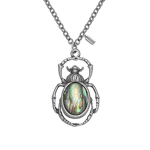 MANZHEN Antique Bronze Abalone Shell Bug Wildlife Necklace Scarab Earring Woodland Animal Jewelry Set (Antique Silver-Necklace)