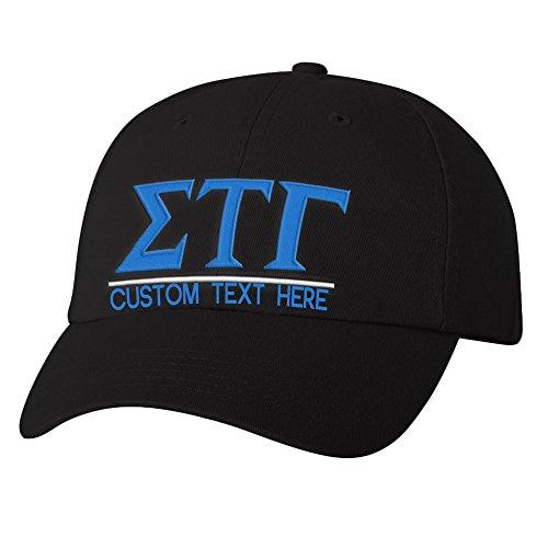 Personalized Sigma Tau Gamma Greek Line Hat Black