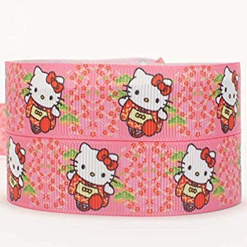 bea0cf6a9 Wowobjects 1 Pc 25 mm Grosgrain 50 Yards Cute Hello Kitty Pattern Printed  Grosgrain Ribbon: Amazon.in: Home & Kitchen