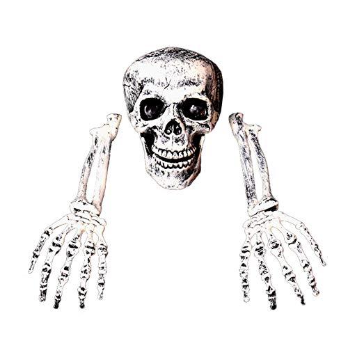 PanDaDa Bag of Realistic Skeleton Bones Skull Head And Hands For Best Halloween Party Decoration And Spookiest Graveyard Scene]()