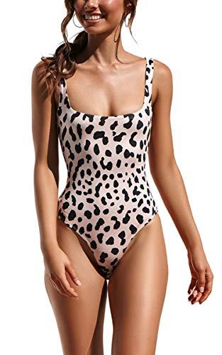 CinShein Women's Bikini Hign Cut Leopard Print One Piece Monokini Swimsuits Backless Thong Bathing Suits SW9050 Leopard M - Thong One Piece Swimsuits