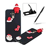 TPU Case for Huawei Mate 20 Lite,Soft Rubber Cover for Huawei Mate 20 Lite,Herzzer Ultra Slim Stylish 3D Christmas Santa Claus Series Design Scratch Resistant Shock Absorbing Flexible Silicone Back Case - Black