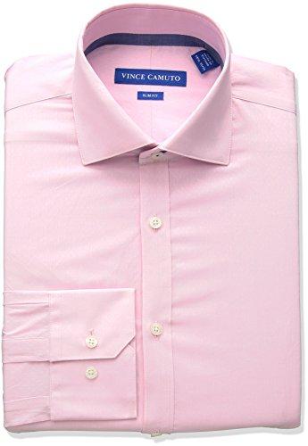 - VINCE CAMUTO Men's Slim Fit Performance Coral Diamond Dobby Dress Shirt, Pink, 17.5 32/33