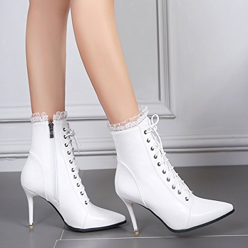 YE Damen Stiletto Ankle Boots Spitze High Heels Stiefeletten mit Schnürung Spitze und Reißverschluss 10cm Absatz Elegant Modern Schuhe Weiß
