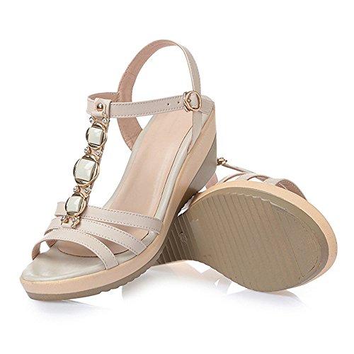Blanc Sandals Cuir Beach 41 en 3 Chaussures Talon 1 Rose Taille Couleur Bohème Femmes Slipper Waterdrop Chaussures Summer Wedges Mi A1EqHwHp
