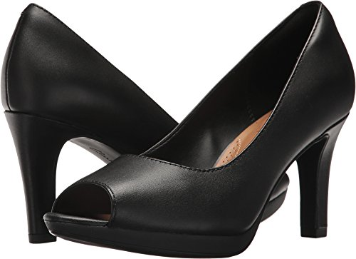 CLARKS Women's Adriel Phyliss Pump, Black Leather, 9 Medium US