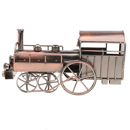 MagiDeal Antique Metalwork Locomotive Train Model Toy Collectible Handmade Art Sculpture Home Office ()