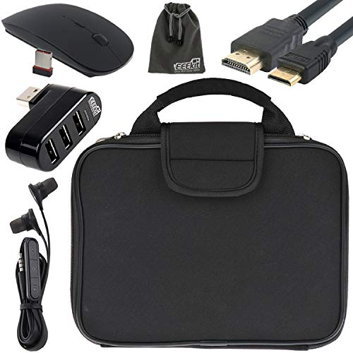 EEEKit 5in1 Starter Kit for RCA Cambio /2018 RCA Cambio/RCA Viking Pro 10.1 2-in-1 Tablet, Carrying Briefcase Sleeve Handbag + 3 Port USB 2.0 Hub + 2.4G Wireless Mouse + Earphone + Mini HDMI Cable