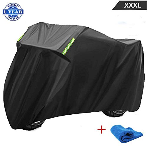 Motorcycle Cover Waterproof Outdoor XXXL Durable 210D Material Breathable Motorbike Covers with Lock-holes UV Protection Wind-proof for Harley Davidson Kawasaki Touring Sport Bike Cruiser