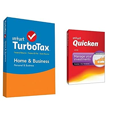 TurboTax Home & Business 2015 Federal + State Taxes + Fed Efile Tax Preparation Software PC/Mac Disc with Quicken Premier 2016 PC Disc