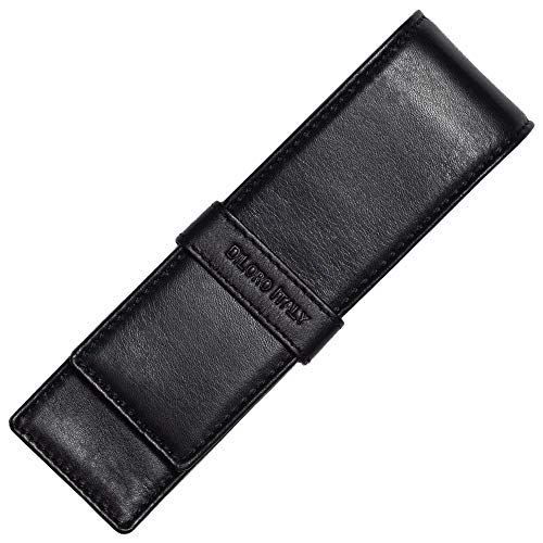 DiLoro Double Pen Case Pouch Holder for Two Pens or Pencils Genuine Full Grain Nappa Leather (Black -