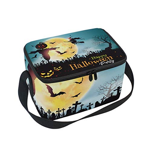 Premium Lunch Bag/Ice bag with Shoulder Strap Halloween Ghost Moon | Lunch Box for Adults, Kids | Soft Leak Proof Liner |Lunch Cooler for Office, School]()