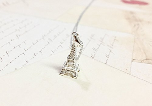 Eiffel Tower Necklace, 925 Sterling Silver Jewelry, Romantic Paris Gift Idea for Her, Dainty Modern 3D Monument Charm